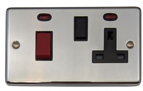 G&H CC29B Standard Plate Polished Chrome 45 Amp DP Cooker Switch & 13A Switched Socket